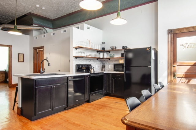 The Bank Haus vacation rental on the Katy Trail in Marthasville, Missouri Wine Country